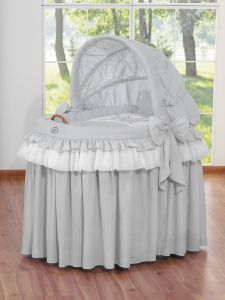 Moses Basket/Wicker hood crib- Little Prince/Princess gray